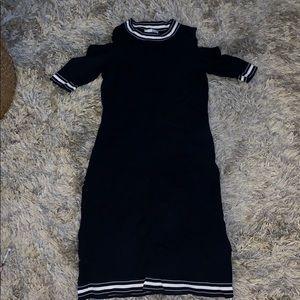 Cut out shoulder sweater dress